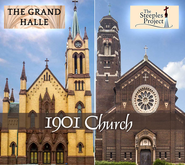 1901 Church encompassing The Grand Halle, St Columba Church and The Steeples Project, Johnstown PA