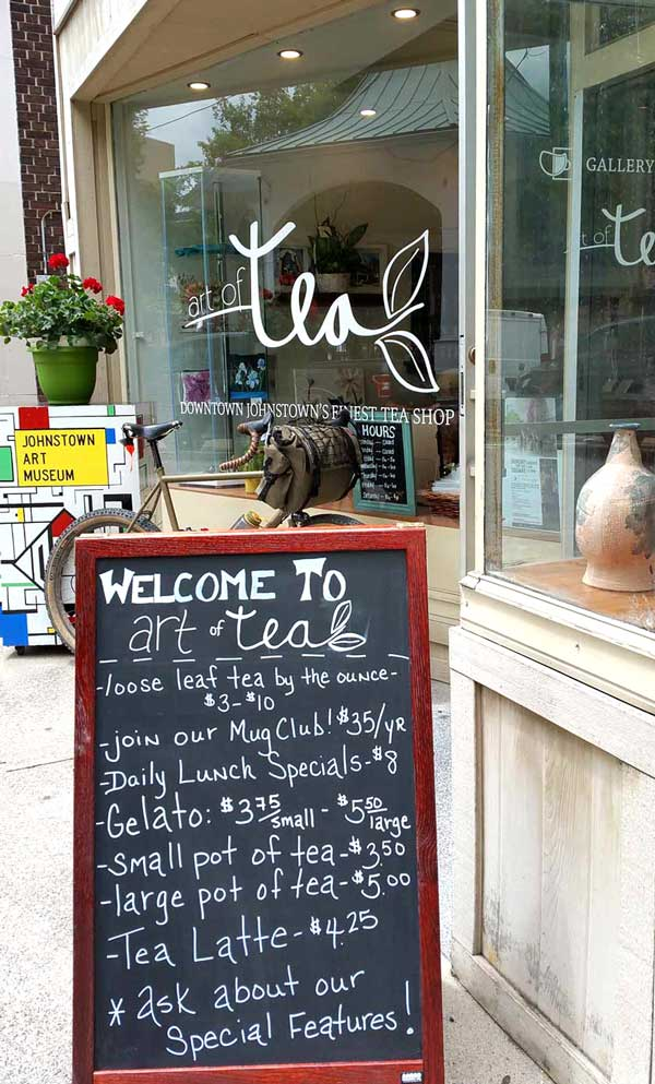 Tea Shop Menu on Sidewalk Board