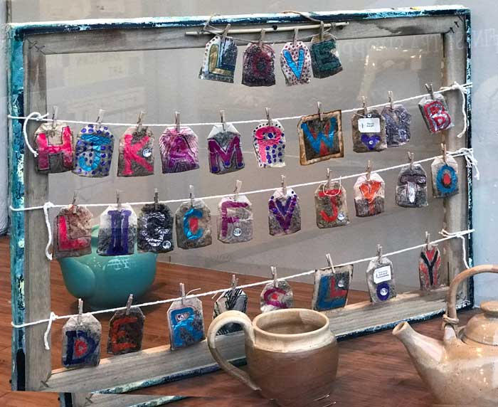 Samples of Tea Bag Art from Window at Gallery on Gazebo