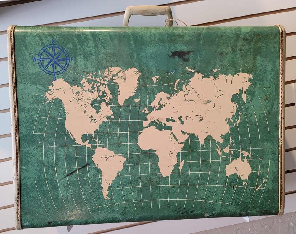 Green World Suitcase by Erin Mosteller