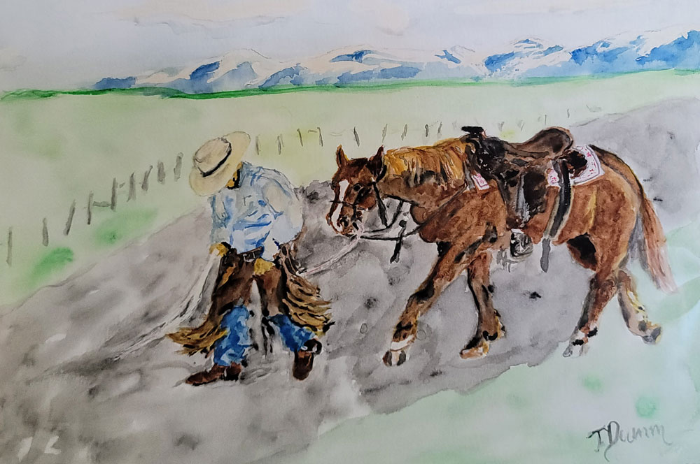 Watercolor by Tom Dumm - Cowboy